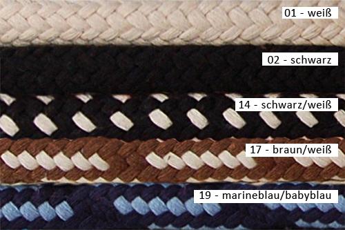 Farbvarianten Hundeleine Baumwolle 10 mm
