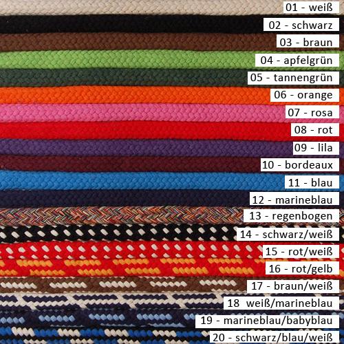 Farbvarianten Hundeleine Baumwolle 14 mm